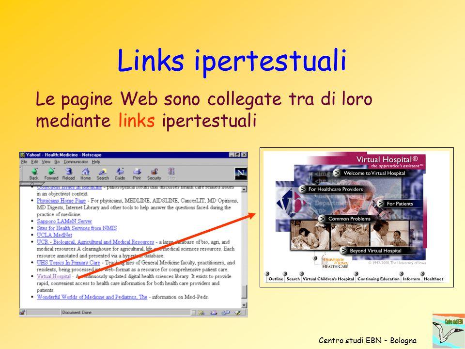 Links ipertestuali Le pagine Web sono collegate tra di loro mediante links ipertestuali.