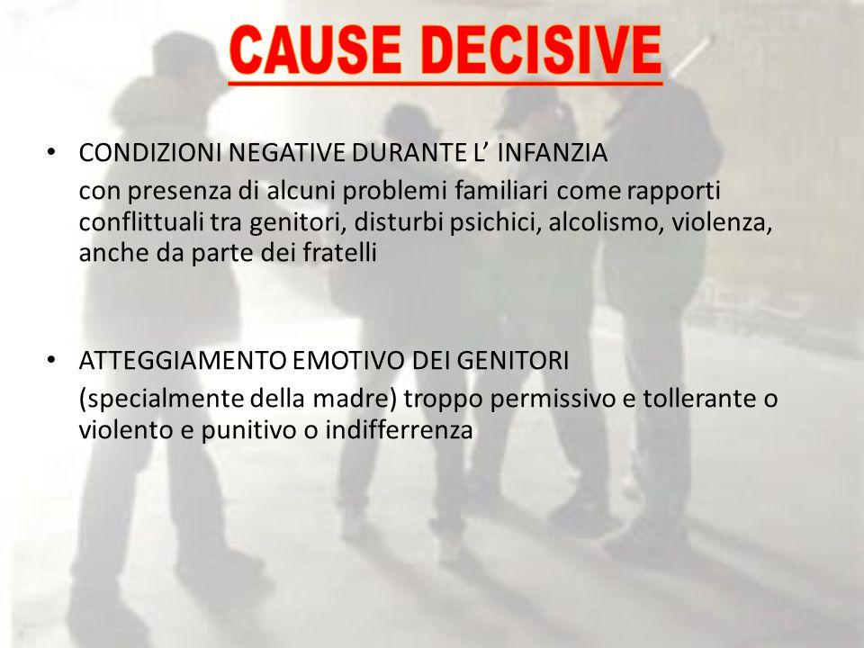 CAUSE DECISIVE CONDIZIONI NEGATIVE DURANTE L' INFANZIA