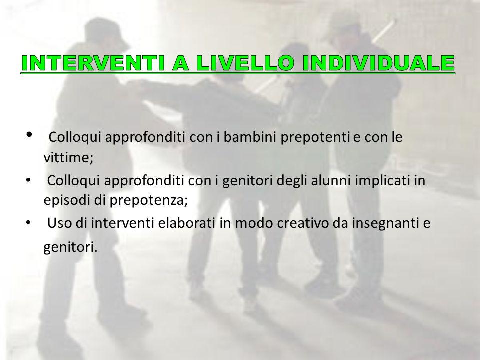 INTERVENTI A LIVELLO INDIVIDUALE