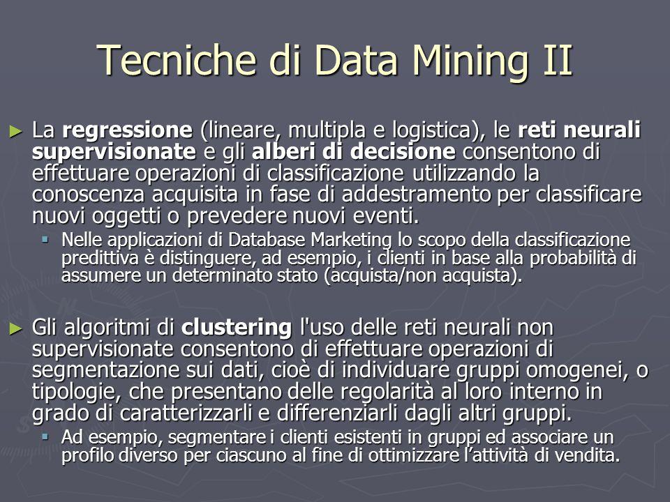 Tecniche di Data Mining II