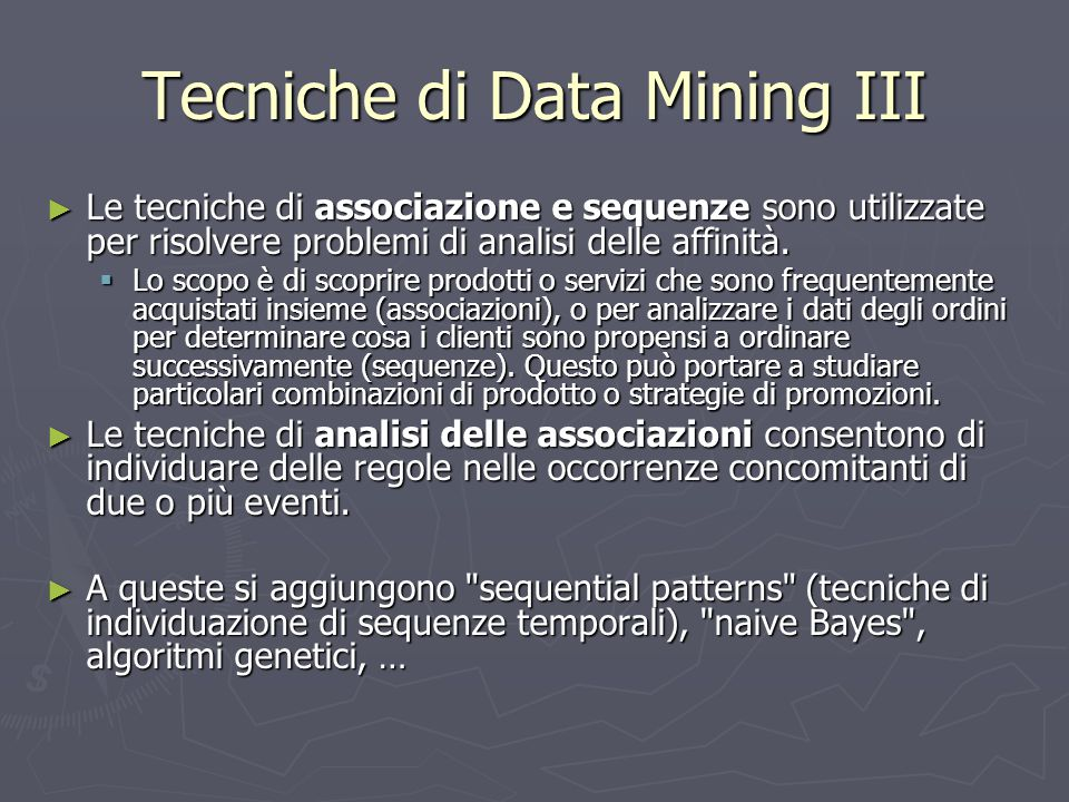 Tecniche di Data Mining III