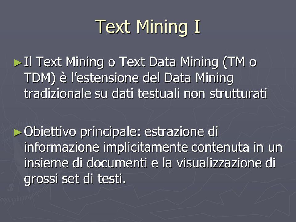 Text Mining I Il Text Mining o Text Data Mining (TM o TDM) è l'estensione del Data Mining tradizionale su dati testuali non strutturati.