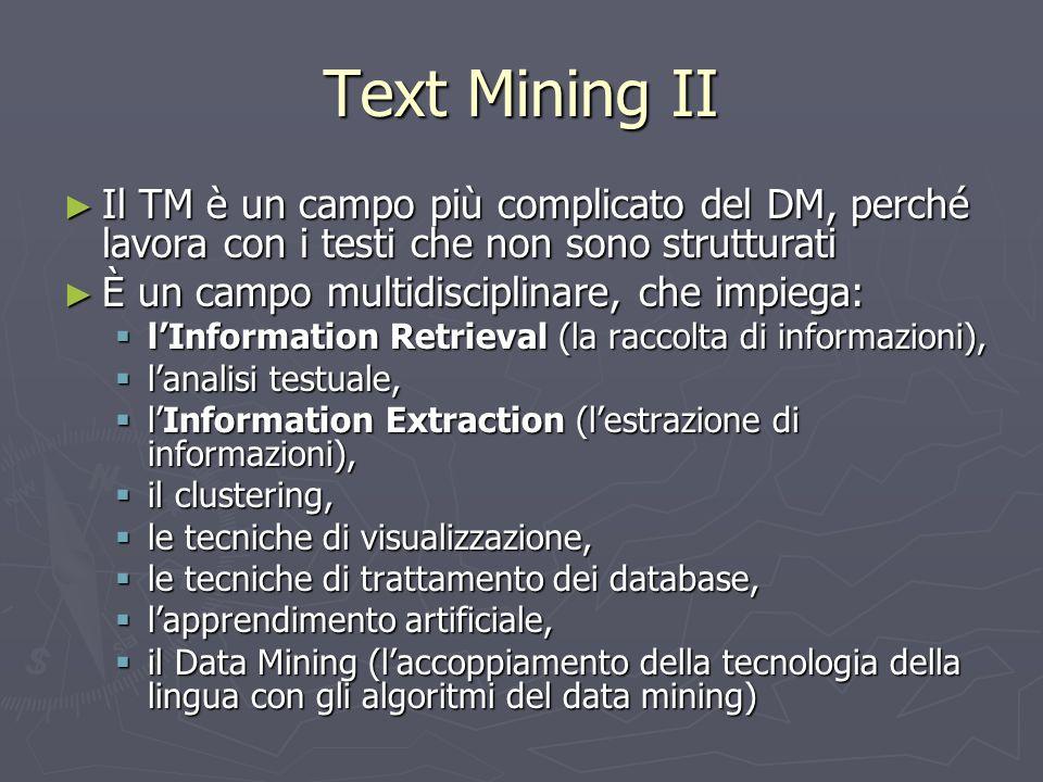 Text Mining II Il TM è un campo più complicato del DM, perché lavora con i testi che non sono strutturati.