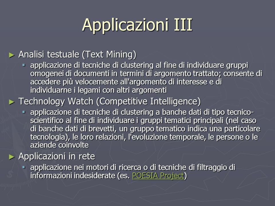 Applicazioni III Analisi testuale (Text Mining)