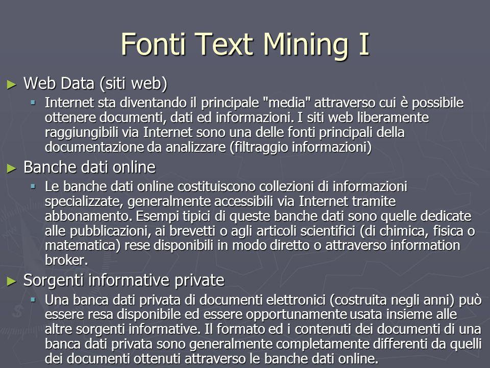 Fonti Text Mining I Web Data (siti web) Banche dati online