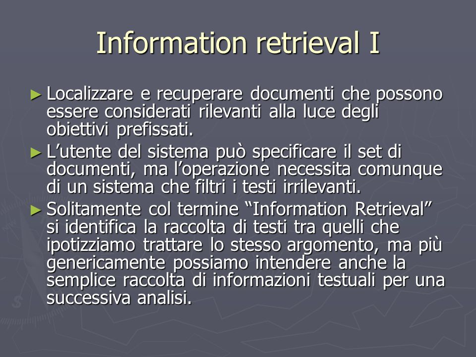 Information retrieval I