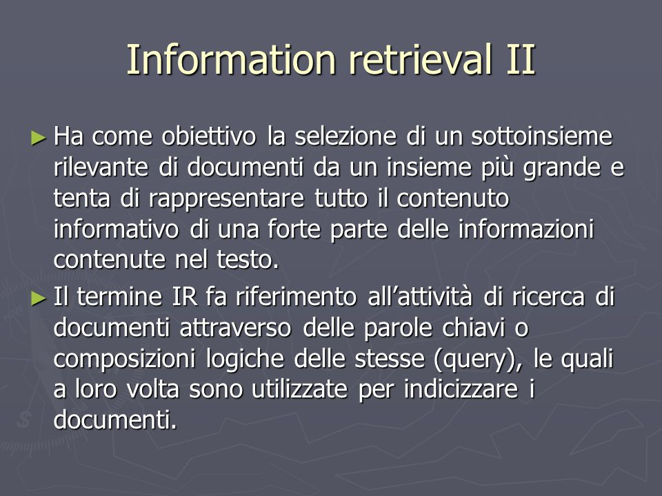 Information retrieval II