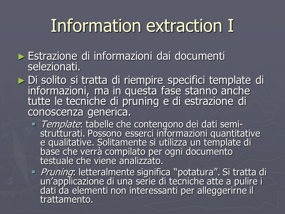 Information extraction I