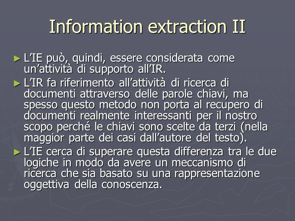 Information extraction II