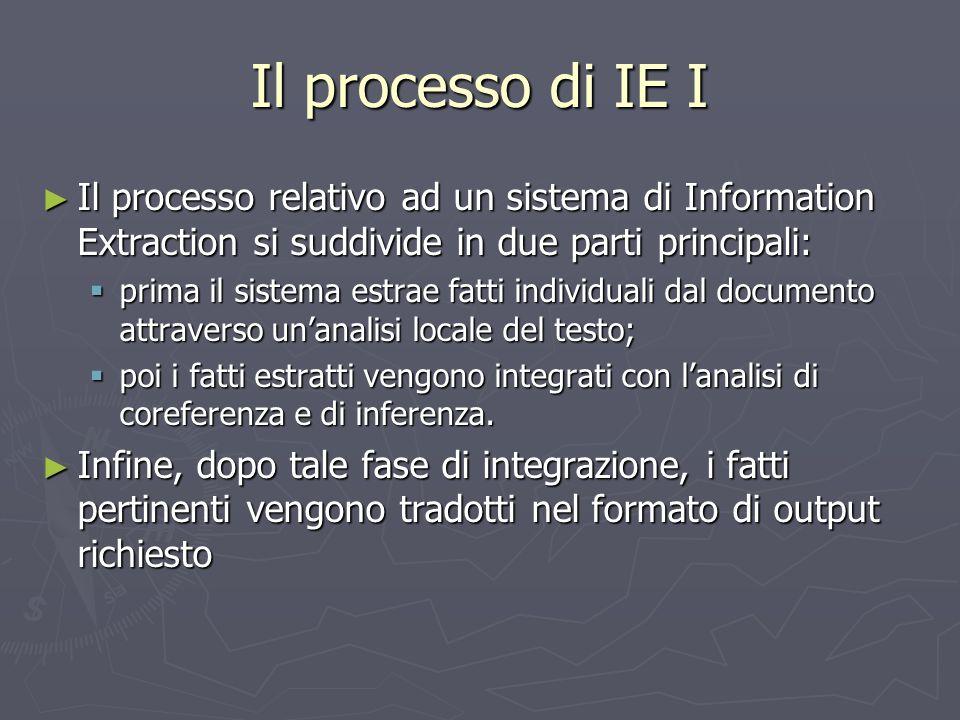 Il processo di IE I Il processo relativo ad un sistema di Information Extraction si suddivide in due parti principali: