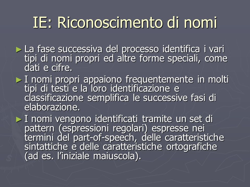 IE: Riconoscimento di nomi