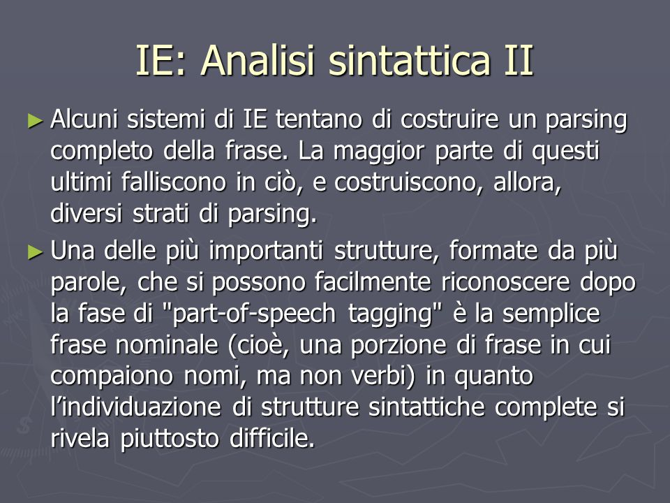 IE: Analisi sintattica II