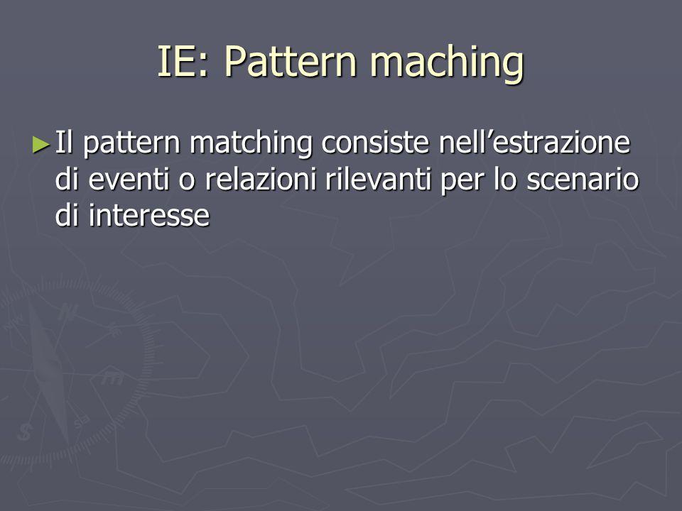 IE: Pattern maching Il pattern matching consiste nell'estrazione di eventi o relazioni rilevanti per lo scenario di interesse.