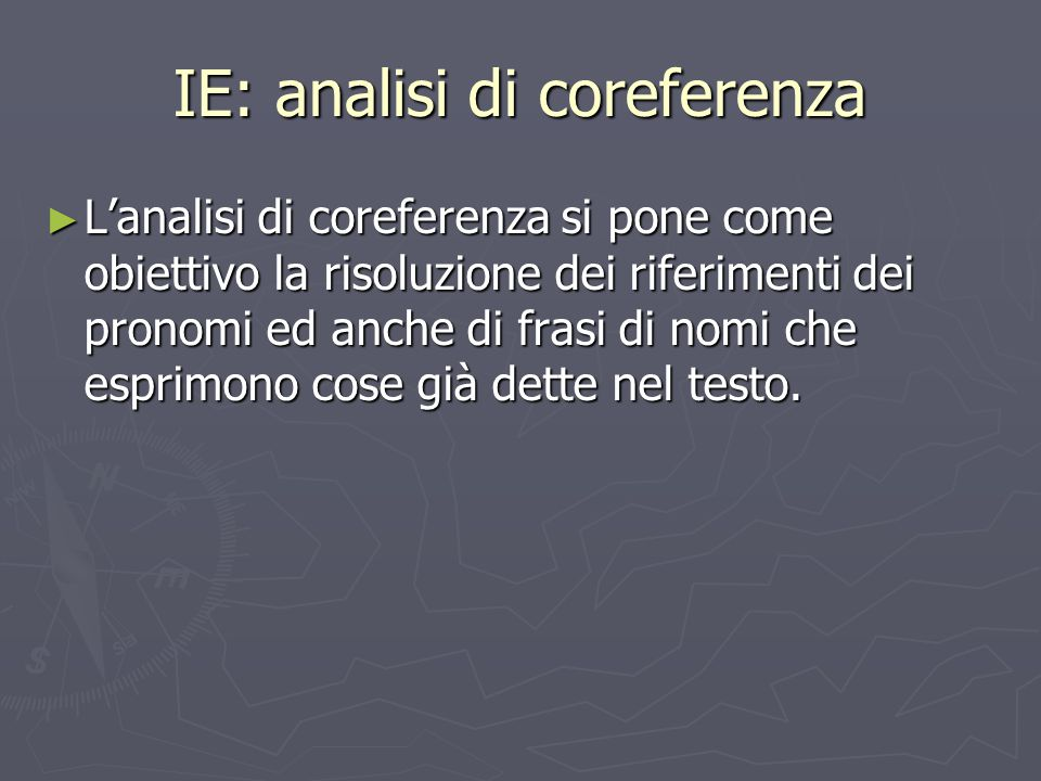 IE: analisi di coreferenza