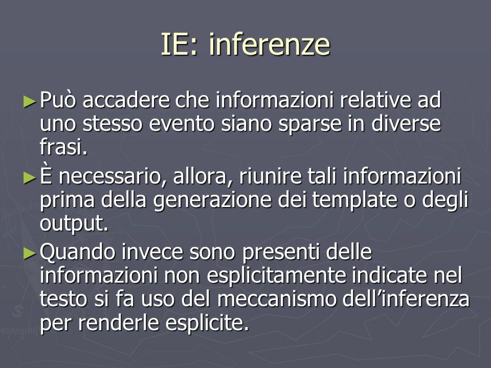 IE: inferenze Può accadere che informazioni relative ad uno stesso evento siano sparse in diverse frasi.