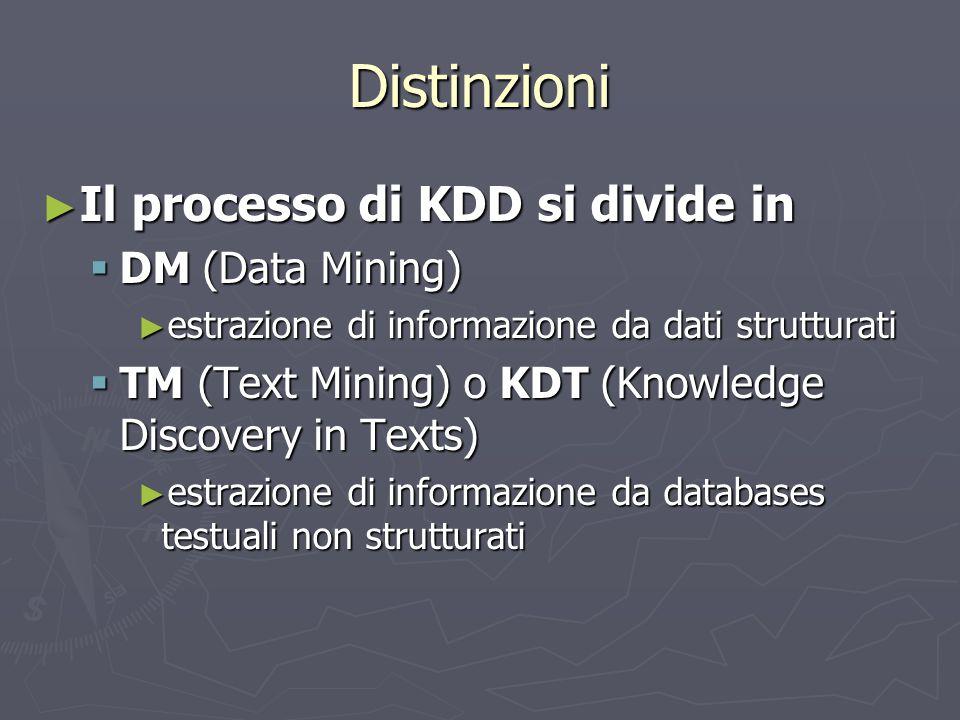 Distinzioni Il processo di KDD si divide in DM (Data Mining)