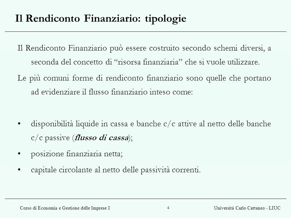 Il Rendiconto Finanziario: tipologie