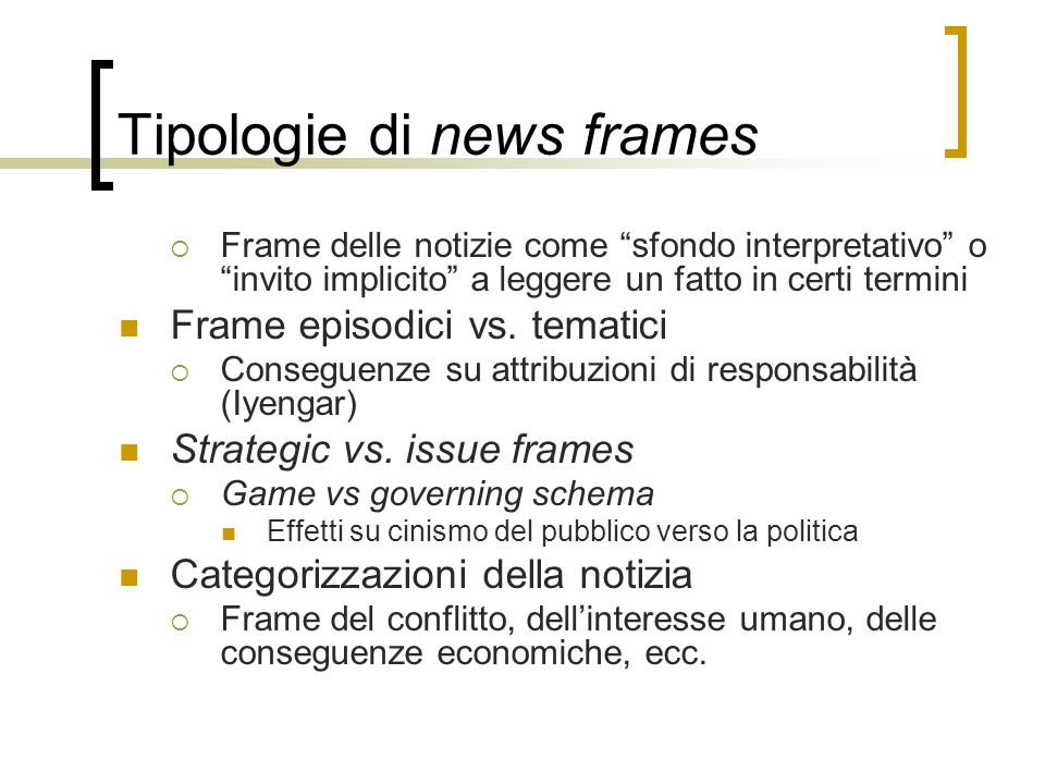 Tipologie di news frames