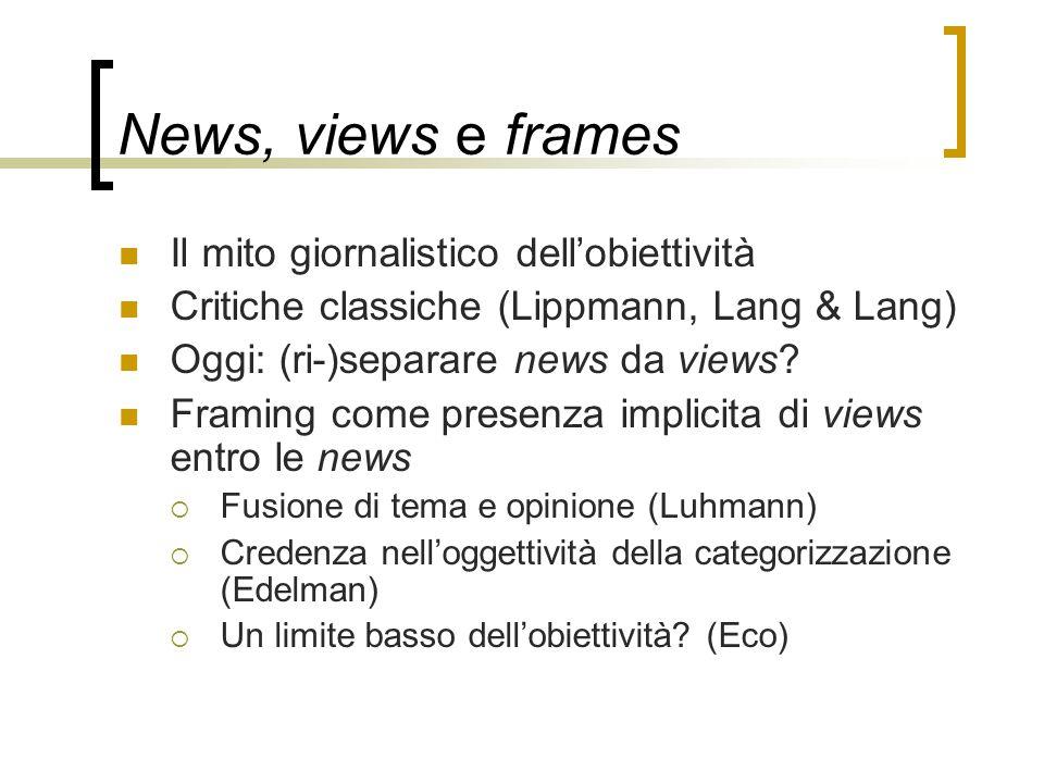 News, views e frames Il mito giornalistico dell'obiettività