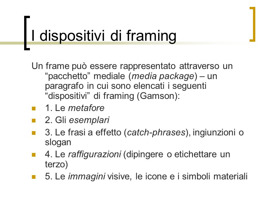 I dispositivi di framing