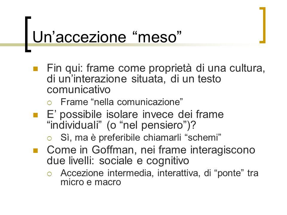 Un'accezione meso Fin qui: frame come proprietà di una cultura, di un'interazione situata, di un testo comunicativo.