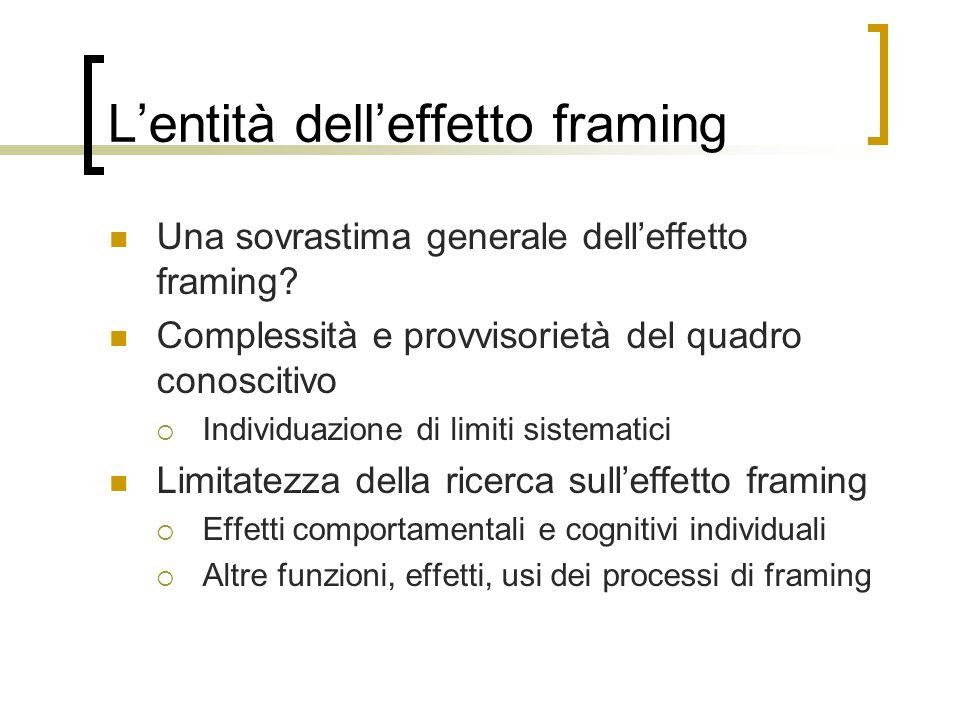 L'entità dell'effetto framing
