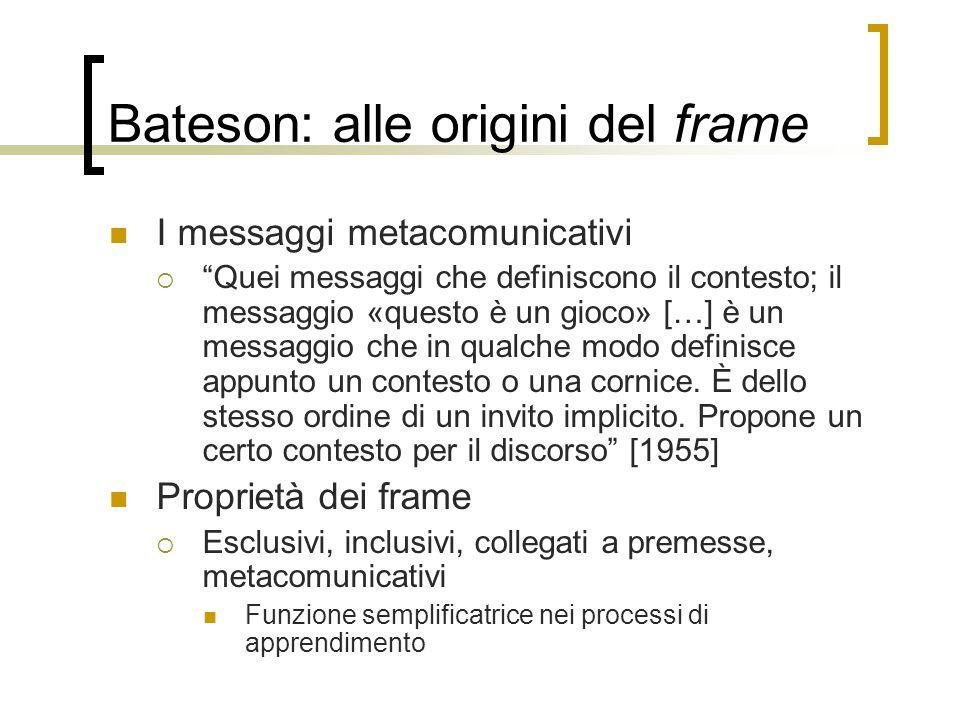 Bateson: alle origini del frame
