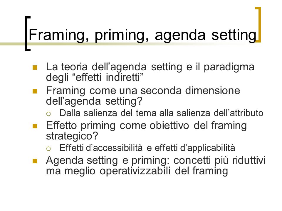 Framing, priming, agenda setting
