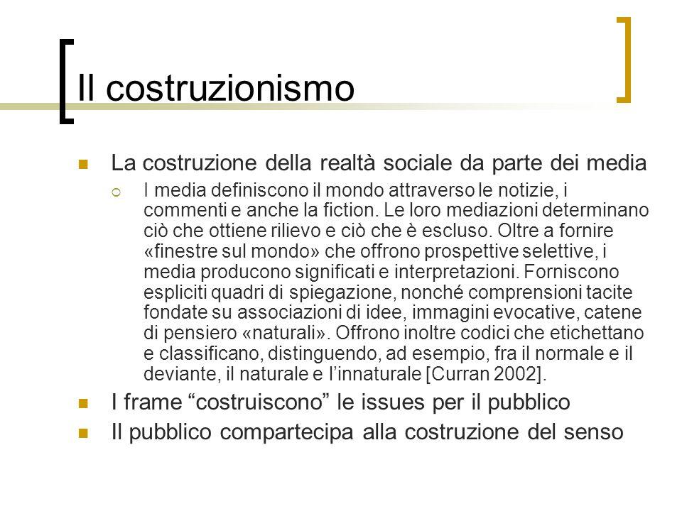 Il costruzionismo La costruzione della realtà sociale da parte dei media.