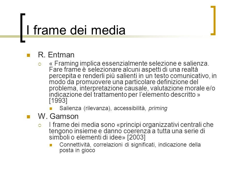 I frame dei media R. Entman W. Gamson