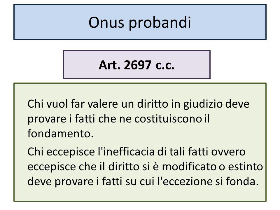 Onus probandi Art. 2697 c.c.