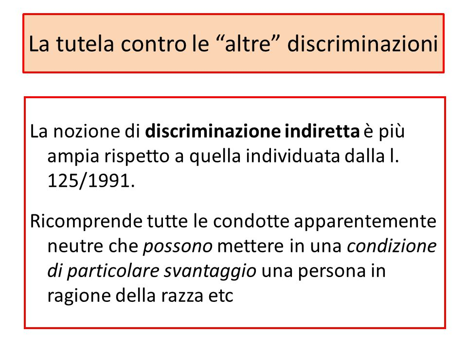 La tutela contro le altre discriminazioni