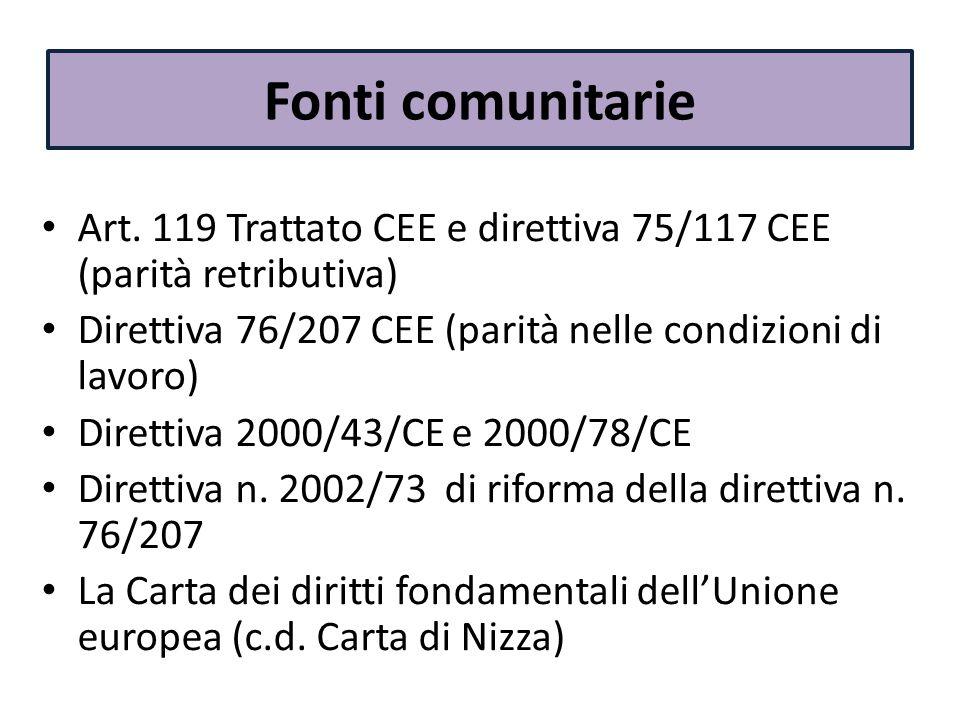 Fonti comunitarie Art. 119 Trattato CEE e direttiva 75/117 CEE (parità retributiva) Direttiva 76/207 CEE (parità nelle condizioni di lavoro)