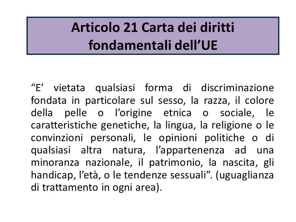 Articolo 21 Carta dei diritti fondamentali dell'UE