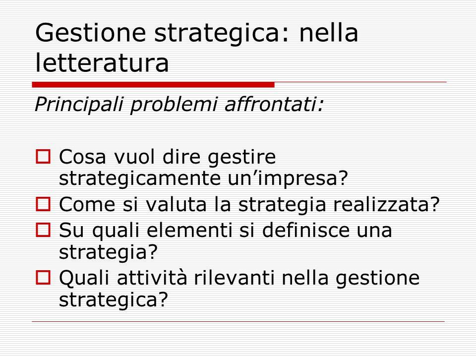 Gestione strategica: nella letteratura
