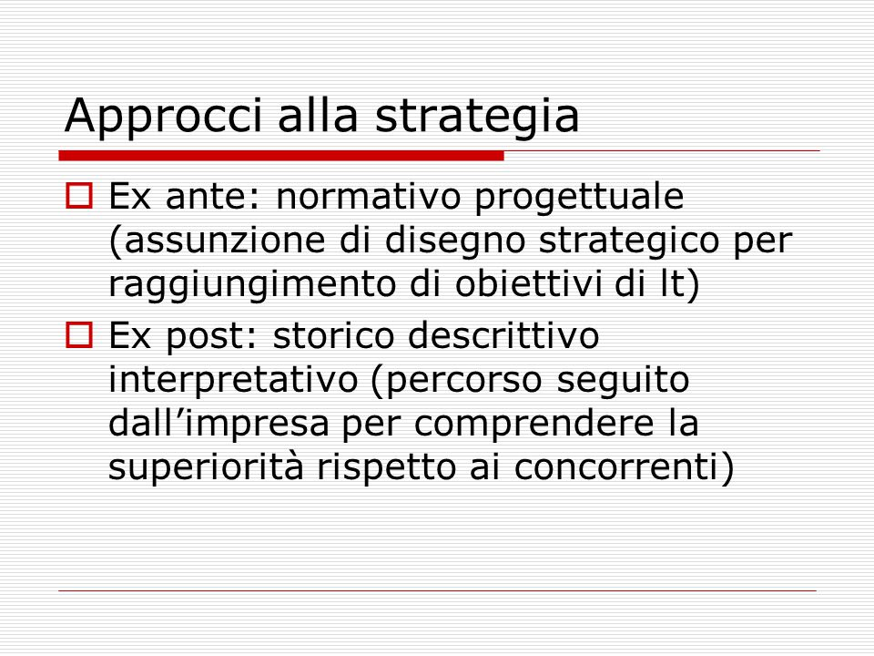 Approcci alla strategia