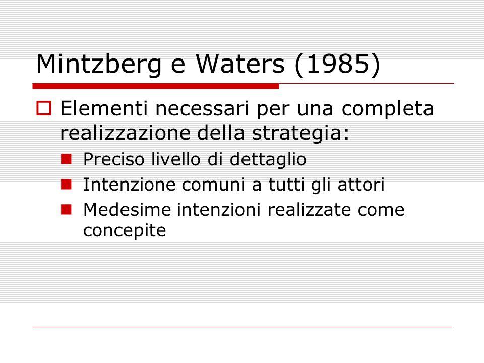 Mintzberg e Waters (1985) Elementi necessari per una completa realizzazione della strategia: Preciso livello di dettaglio.