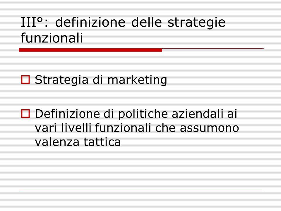 III°: definizione delle strategie funzionali