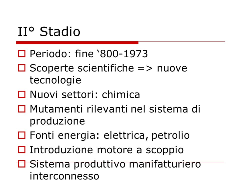 II° Stadio Periodo: fine '800-1973