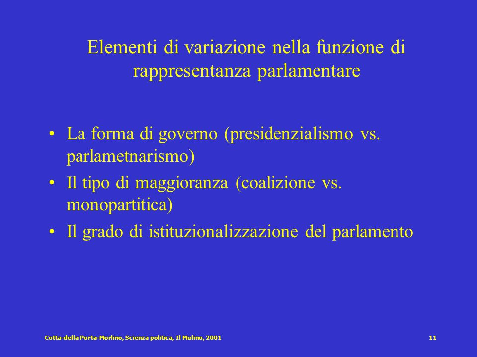 Elementi di variazione nella funzione di rappresentanza parlamentare