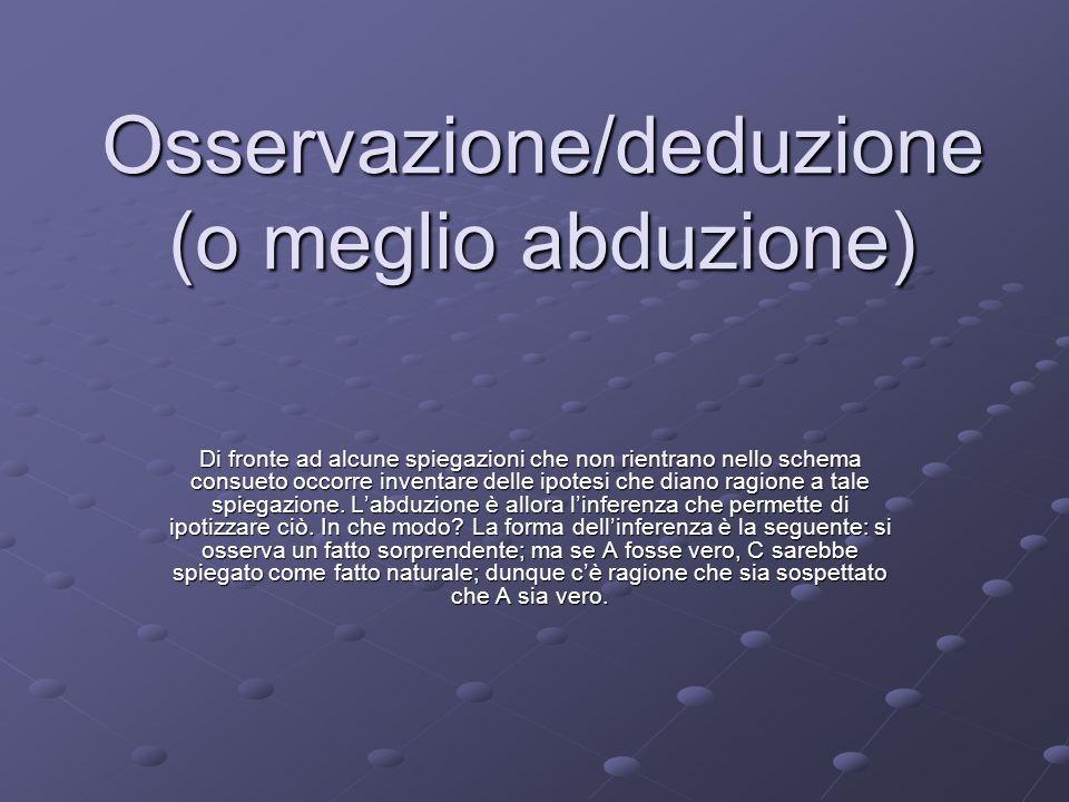 Osservazione/deduzione (o meglio abduzione)