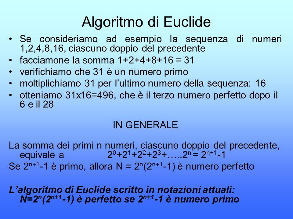 Algoritmo di Euclide Se consideriamo ad esempio la sequenza di numeri 1,2,4,8,16, ciascuno doppio del precedente.