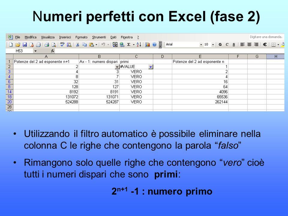 Numeri perfetti con Excel (fase 2)