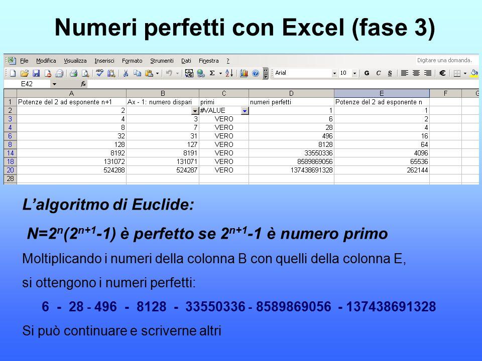 Numeri perfetti con Excel (fase 3)
