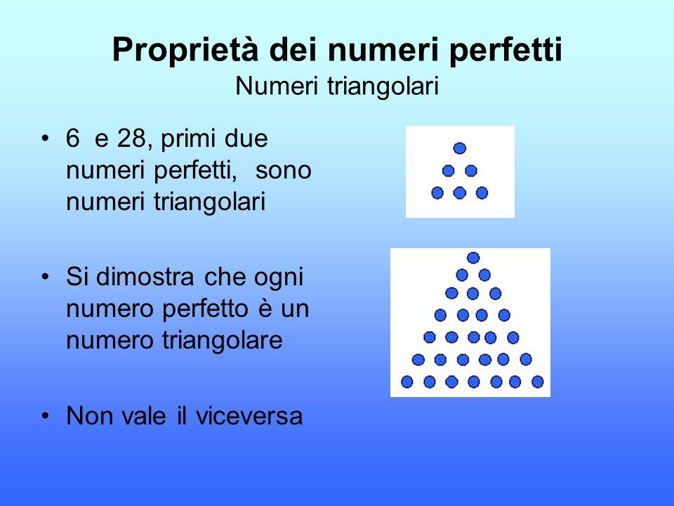 Proprietà dei numeri perfetti Numeri triangolari