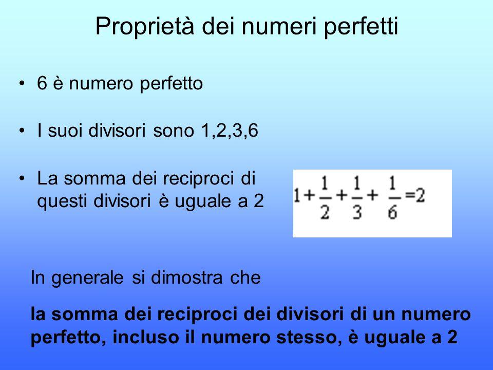 Proprietà dei numeri perfetti