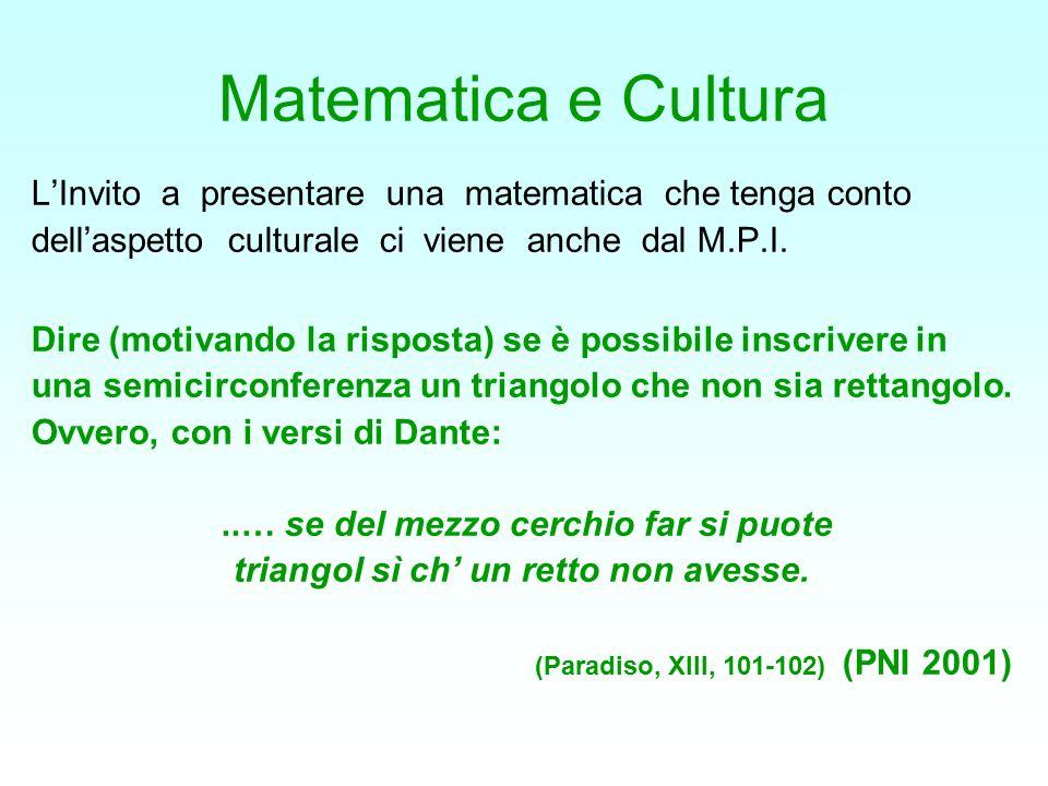 Matematica e Cultura L'Invito a presentare una matematica che tenga conto. dell'aspetto culturale ci viene anche dal M.P.I.