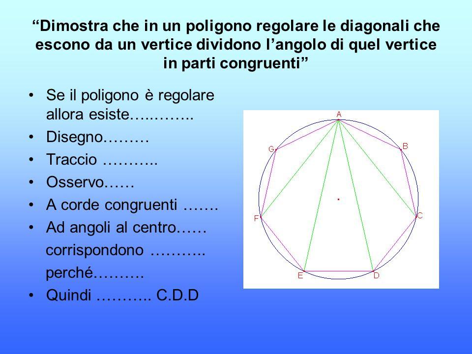 Dimostra che in un poligono regolare le diagonali che escono da un vertice dividono l'angolo di quel vertice in parti congruenti