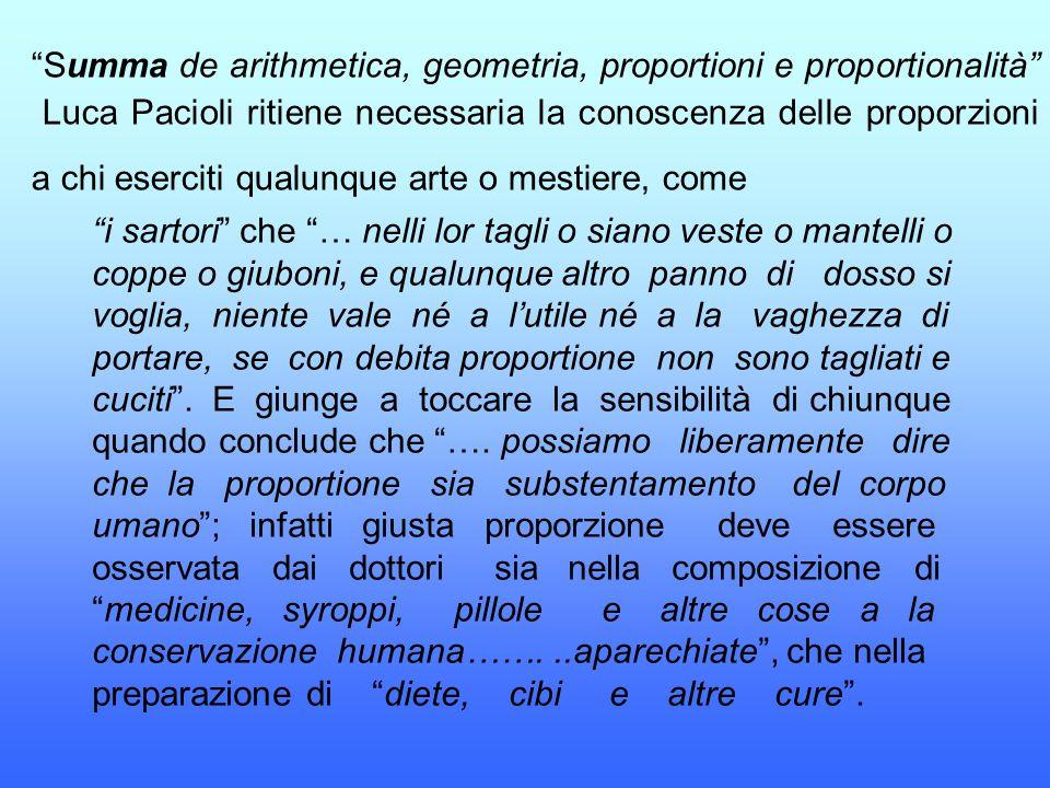 Summa de arithmetica, geometria, proportioni e proportionalità Luca Pacioli ritiene necessaria la conoscenza delle proporzioni a chi eserciti qualunque arte o mestiere, come