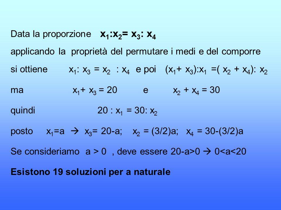 Data la proporzione x1:x2= x3: x4